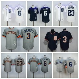 Wholesale Authentic Shorts - 23 Kirk Gibson Jerseys Throwback Detroit Tigers Baseball Jersey 6 Al Kaline 3 Alan Trammell Retro 1984 Authentic Cooperstown Mesh Batting