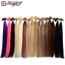 Wholesale Hair Extensions U - 16-26inch U Nail Tip Pre-bonded Hair Extensions Human Hair Extensions Keratin Remy Straight Hair 16 colors