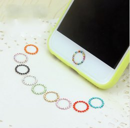 Wholesale Crystal Bling Home Button Sticker - 100PCS Colorful Crystal Bling Diamond Home Button Sticker for iPhone 7 6s Plus 5s Support Fingerprint Identification Cell Phone Accessories