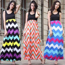 Wholesale Elegant Maxi Long Sleeve - Elegant O-neck Sleeveless Stripe Women Long Dresses Wholesale Bohemian dress color wave stripe dress Stripe Sleeveless Maxi Dresses