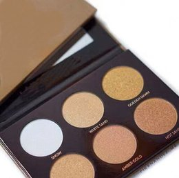 oil free makeup Promo Codes - 2018 HOT new makeup gold box 6 color Bronzers & highlighter Powder palette Makeup Kit! epacket Free shipping!