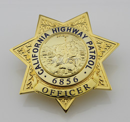 Wholesale Cool Metal Badge - Cool California State Highway Patrol TRAFFIC OFFICER CHP Metal badge Brass limited Halloween Cosplay badge Number 6856 Toy Gift