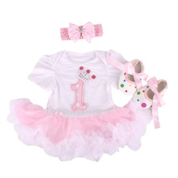 Wholesale Infant Girls Pink Dress Shoes - Wholesale- Baby Rompers 3PCs Infant Clothing Set Baby Girls White Pink 1st Birthday Tutu Dress Jumpersuit Headband Shoes