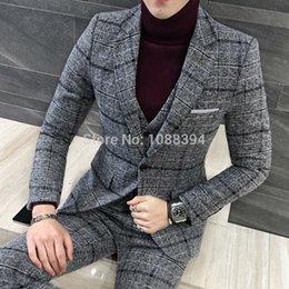 UK best groom wedding dress - Wholesale- 2017 New Arrival Grey Plaid Mens Suits Groomsmen Groom Tuxedos Wedding Dress Best Man Suit Bridegroom (Jacket+Pants+Vest+Tie)