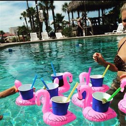 Wholesale Chinese Float - Wholesale-Mini Flamingo Inflatable Water Floating Cell Phone Drink Can Coke Cup Holder Stand Station Swimming Bath Pool Toy