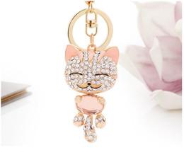 Wholesale Rhinestones For Cars - Smile Cat Crystal Rhinestone Keyring Key Holder Purse Bag keychains For Car christmas Gift for women free ship
