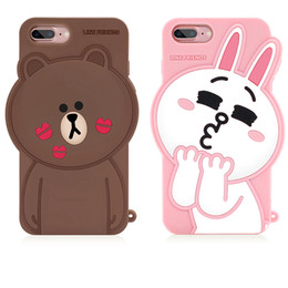 Wholesale Rabbit Silicon Case - 2017 Newest Korean Line Friend Brown Bear Cony Rabbit Cute 3D Sally Cartoon Bear Silicon Phone Cases For iPhone 6 6s 7 Plus