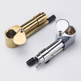 Wholesale golden hide - Brass Proto Pipe Vaporizer 3.9 Inch Portable Metal Smoking Pipes with Golden Silver Color Tool Tobacco Pipes Oil Herb Hidden Bowl