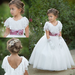 Wholesale Portrait Kid - Lovely White Lace Flower Girl Dresses 2017 Cheap A Line Cap Sleeves Scoop Neck with Bow Sash Kids Formal Wear Gowns