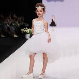 Wholesale Braces Wedding Dress - White Sleeveless Girls Dresses Children Formal Party Dress Night Ball Gown Kids Wedding Brace Dress Girls Tutu Vestidos Chiffon Skirts