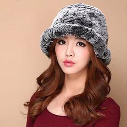 Wholesale Mink Hat Grey - Wholesale- HR040 new women hot sale real mink fur rabbit fur kintted fur hat cap beret hat