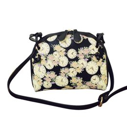 Wholesale Floral Clocks - Wholesale-Women Handbags Floral Clock Printed Shoulder Bag Leather Purse Satchel Messenger Bag #2415