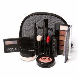 Wholesale Makup Bag - FOCALLURE Makup Tool Kit 8 PCS Must Have Cosmetics Including Eyeshadow Lipstick With Makeup Bag Makeup Set