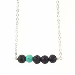 Wholesale Turquoise Black Stone Necklace - New Design 8mm Lava Stone and Turquoise Stone Bead Bar Necklace Diffuser Essential Oil Yoga Jewelry for Women
