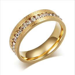 Wholesale Jewerly Stainless Steel For Man - Brand Gold Rings for Women men 18k gold plated Vintage Charms Austrian Crystal Wedding Ring Stainless Steel Jewerly