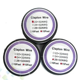 Wholesale Wire 24 Gauge - Newest Clapton Wire Resistance Wire 15 Feet 22+32 24+32 26+32 awg Gauge Fast Heating Vaporizer Coil Wire fit Atomizer DHL Free