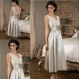 Wholesale Pink Ribbons Pictures - Mother Of the Bride Dresses 2018 Gorgeous Sleeveless Lace V Neck Satin Evening Dress A Line Tea Length Ribbon Long Prom Party Gowns