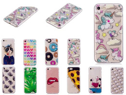 Wholesale Pizza Brands - Pizza Donuts Soft TPU Case For Iphone 7 Plus 6 6S Galaxy S8 Plus (A3 A5 J5 J7)2016 Silicone Unicorn Butterfly Cat Lip Heart Back Cover Skin