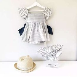 Wholesale Little Girls Outfits - 2017 Little Baby Girls Striped Sets Toddler Striped Bow Dress with Cotton Short pants Childrens Fashion Outfits Kids clothing