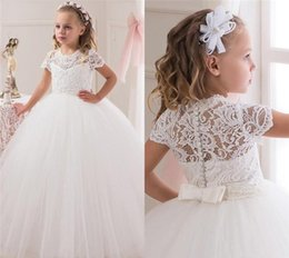 Wholesale Sexy Short Birthday Dresses - Sexy White Ball Gown Flower Girl Dresses Lace Bodice Jewel Short Sleeve Floor Length Flower Girls Dress Formal Wedding Party Gowns For Kids