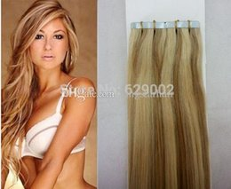 Wholesale Remi Hair 27 - Piano Color #27 613 40 pieces 100g Brazilian Indian Hair 12''-28'' Remi Tape In Human Hair Extensions Tape Hair Extensio