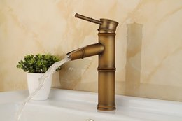 Wholesale Taps Faucet Top Quality - Free shipping Bamboo antique basin sink faucet by solid brass basin mixer tap with top quality antique bathroom basin faucet