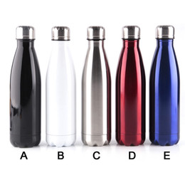 Wholesale Pink White Cups - Amathing Water Bottle Vacuum Flask Cup Sports 304 Stainless Steel Cola Shape Mugs Vacuum Insulation Cups 500ml Mug 0703090