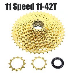 Wholesale Freewheel Bikes - Catazer 11 Speed 11-42T Bicycle FreeWheel Gold Cassette BMX Mountain MTB Bike Aluminum And Steel Flywheels Fit For SHIMANO SRAM Groupset