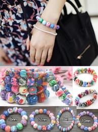 Wholesale Ceramic Prints - Kids Printed Beaded Bracelet 8 10 12 16mm Polymer Clay Bracelets For School Children 20pcs lot Wholesale Free Shipping