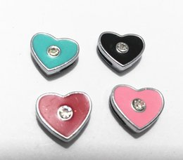 Wholesale Collar Dog Sliders - Mix Color Rhinestone Heart 8mm Mix Color Slide Charms Fit Pet Dog Cat Tag Collar Wristband Diy Accessory