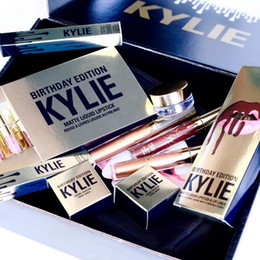 Wholesale Gift Bags Mixed Sizing - 2017 New Kylie Gift Box Golden Box Gloss Suits Makeup Bag Birthday Collection Cosmetics Birthday Bundle Bronze Kyliner Kylie Jenner Holiday