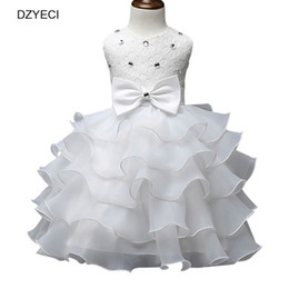 Wholesale White Knee Length Frocks - Summer Baby Girl Bow Dresses Carnaval Costumes Kid Prom Ball Gown Party Frock Bridesmaid Children Ceremony Elegant Female Small Beauty