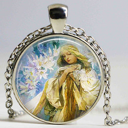 Wholesale Easter Lily Pendant - Madonna of The Lilies 25mm Glass Cabochon Alphonse Mucha Art Pendant Glass Dome Jewelry Accessories