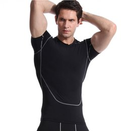 Wholesale Sports Casual Wear - Men's Sports Casual Tights Black Short-Sleeve T-Shirt Bodywear Yoga Wear