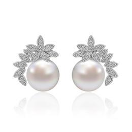 Wholesale Glow Chandelier - Women Wedding Earrings Delicate While Luxury With Freshwater White Pearl Drop Pave Glowing Rhinestones Diamond Stud