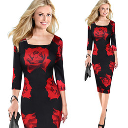 Wholesale Women Pencil Skirt Dresses - 2017 High Quality Women Clothing Floral Print Red Rose Skirt Casual Dress Sleeve Dresses Sexy Pencil Skirt Plus Size Free Shipping 3999