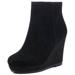 Wholesale Winter Hidden Wedges Shoes - Wholesale- 2016 New Fashion women winter ankle boots Women hidden wedges boots Design zip Round toe Women western boots shoes woman XD179