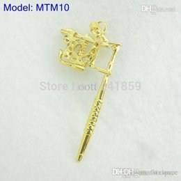 Wholesale Wholesale Tattoo Gun Pendants - Wholesale-Golden Mini Toy Tattoo machine Gun As Pendant Ornament Necklace Supply MTM10#