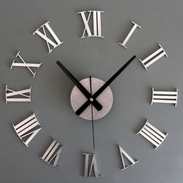 Wholesale Wall Clocks Roman Numerals - Wholesale- New Metal Chic DIY Adhesive Silver Vintage Roman Numeral Number Wall Clock 3D Home Decor Living Room