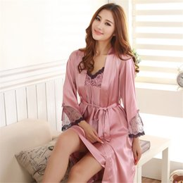 Wholesale womens satin silk pajamas - Wholesale- Womens Sleepwear Silk Pajamas Satin Pajamas Silk Sling Nightdress Nightgown Two-piece Pajamas Sexy Lace Tracksuit M-2XL 5 Colors