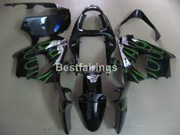 Wholesale Ninja Fairing Zx9r - Free 7 gifts Fairing kit for Kawasaki Ninja ZX9R 2000 2001 green flames black motorcycle fairings set ZX9R 00 01 PJ24