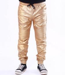 Wholesale Leather Harem Trousers - Wholesale- Men's Golden Red Black Gray Color Causal Harem PU Faux Pleated Leather Pants Trousers Jogger Man Pierre US Size