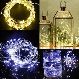 2019 micro mini luces 2M 20LEDs llevado cadena CR2032 de pilas Micro Mini LED de cadena de luz de alambre de plata de cobre Starry Light String para la decoración de Navidad rebajas micro mini luces