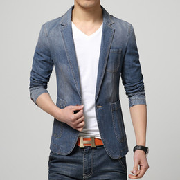 2019 новый стиль для мужчин Wholesale- New Fashion Style Men Blazer Jeans Coat Special Design Slim Looking  new Arrival Single Button Full Sleeve Male Suits Cozy дешево новый стиль для мужчин