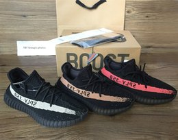 luminous shoes Canada - 5 color best quality 350 V2 running shoes Sply 350 Boost Men's shoes Orang black pink copper Luminous (keychain+sock+bag+receipt +Double box