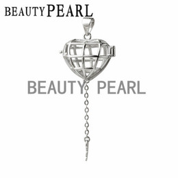 Wholesale Key Floats Wholesale - 5 Pieces Gift Cage 925 Sterling Silver Lockets Love Wish Floating Pearl Heart Cage Key Pendant