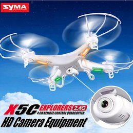Wholesale Cheapest Quadcopter - Cheapest Price! Hot Selling Syma X5C X5C-1 2.4G RC Helicopter 6-Axis Quadcopter Drone With Camera VS X5 No Camera free shipping