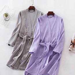 Wholesale Women S Long Sleeve Nightgowns - Lovers Pajamas Robe Women Cotton Robes Couples Long Sleeve Nightgown Male V-neck collar Bathrobe Female Homewear