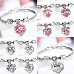 Wholesale Baby Crystal Bangle - 120PCS Pink Clear Crystal Heart Baby Little Middle Big Sister Sis My Girl Knit Family Bracelet Girls Gifts Wristbands Rhinestone Bangle F250
