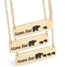 Collana lunga della catena sveglia online-Gioielli di moda Mama Bear Baby Bear Collane con ciondolo per donna, donna, ragazze, collane a catena lunga color argento dorato, regalo di Natale